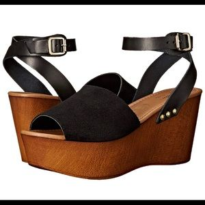 Seychelles Paddle Suede Ankle Strap Wedge  ~ 7.5